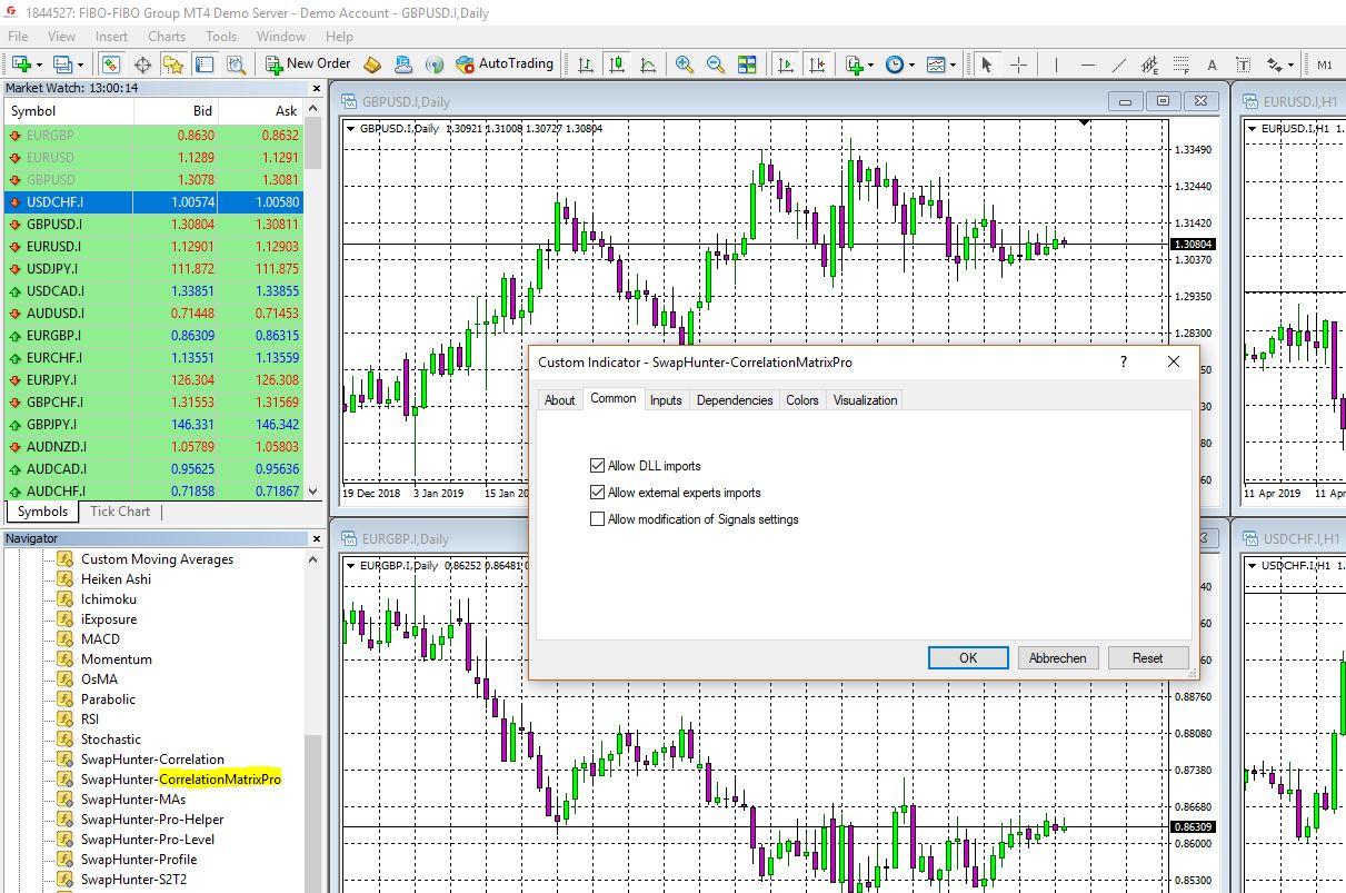 Drag & Drop the Correlation Matrix Pro on a Chart
